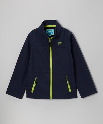 Navy Soft Shell Bonded Jacket - Boys