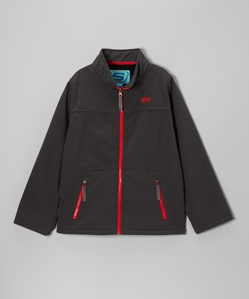 Charcoal Soft Shell Bonded Jacket - Boys