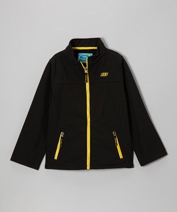 Black Soft Shell Bonded Jacket - Boys