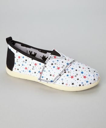 White & Pink Star Slip-On Shoe