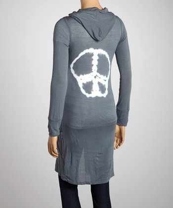Gray Peace Hooded Duster
