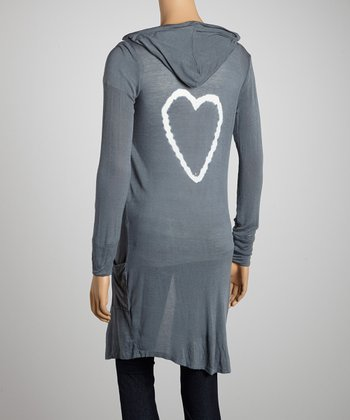 Gray Heart Hooded Duster