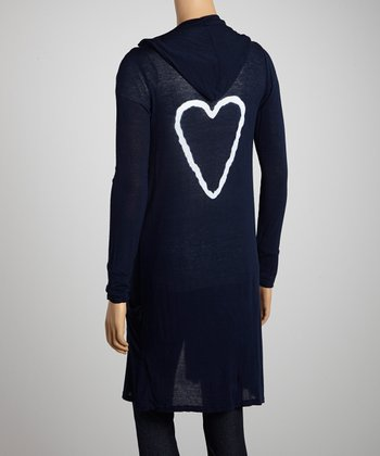Navy Heart Hooded Duster