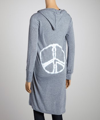 Light Gray Peace Hooded Duster
