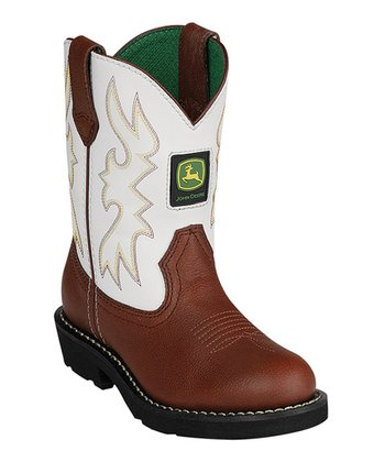 White & Brown Leather Cowboy Boot