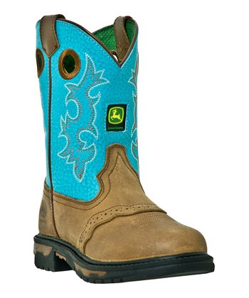 Turquoise & Brown Eyelet Cowboy Boot - Kids
