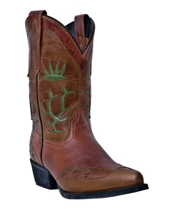 Little Kid Brown & Green Cowboy Boot - Kids