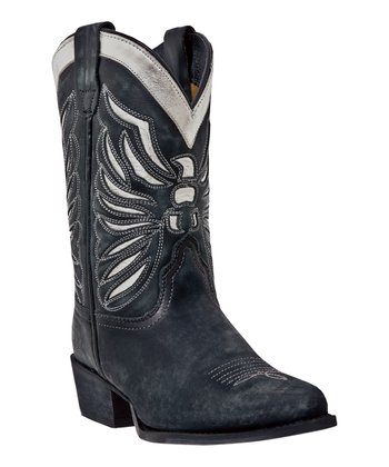 Little Kid Black & Silver Cowboy Boot - Kids