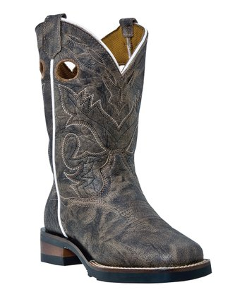Big Kid Taupe & White Cutout Cowboy Boot - Kids
