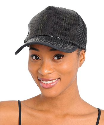 Black Sequin Baseball Cap