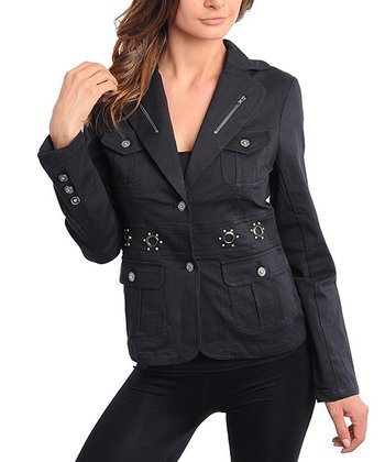 Black Military Linen-Blend Blazer