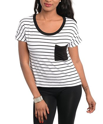 White & Black Stripe Short-Sleeve Top
