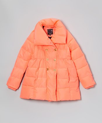 Hot Coral Double-Breasted Puffer Coat - Girls