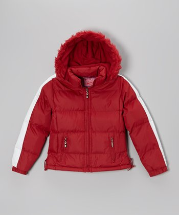 Red Down Puffer Coat - Girls