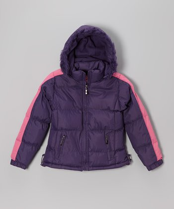 Purple Down Puffer Coat - Girls