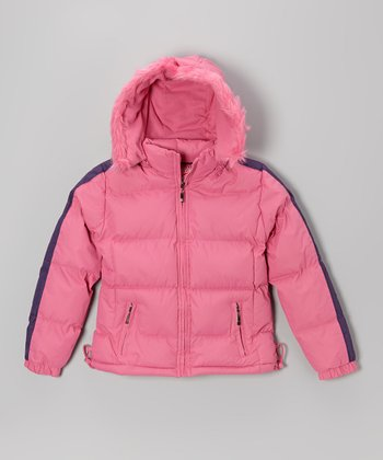 Pink Down Puffer Coat - Girls