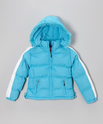 Turquoise Down Puffer Coat - Girls