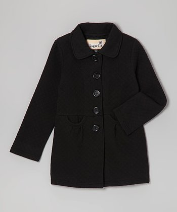 Black Double-Pocket Coat - Girls