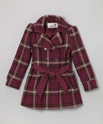 Purple Plaid Sash-Tie Wool-Blend Coat - Girls