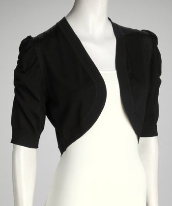 Black Puff Sleeve Bolero - Women