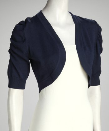 Navy Puff Sleeve Bolero - Women
