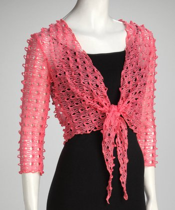 Melon Knit Tie-Front Bolero - Women