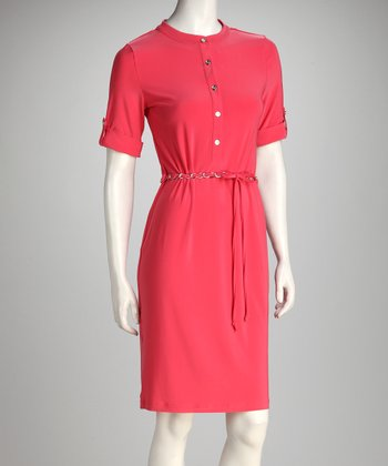 Coral Chain Belt Shirtdress - Women