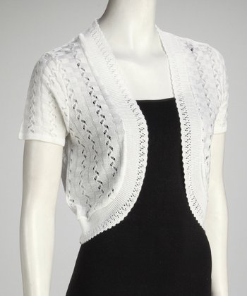 White Crocheted Shrug - Women