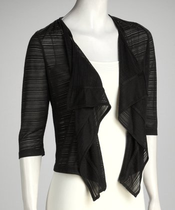 Black Sheer Drape Neck Open Cardigan - Women