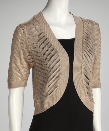Sandalwood Zigzag Knit Bolero - Women