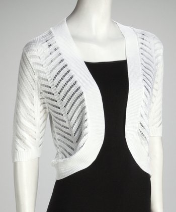 White Zigzag Knit Bolero - Women