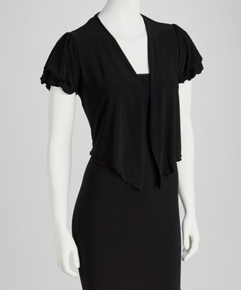 Black Drape Neck Shrug - Women