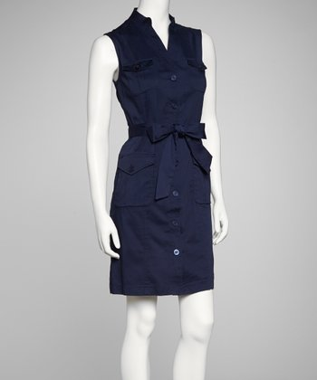 Navy Shirt Dress - Women