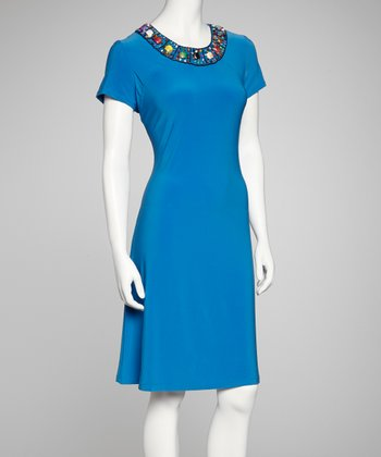 Cornflower Blue Beaded Dress - Women & Plus
