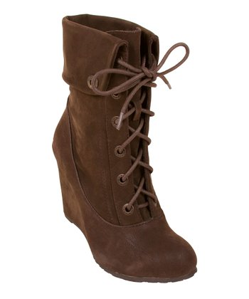 Dark Brown Fawn Ilisa Wedge Bootie