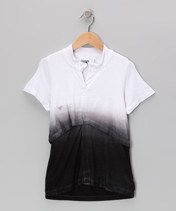 Black & White Dip-Dye Top - Girls