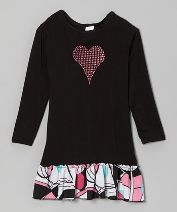 Black & Pink Heart Drop-Waist Dress - Girls
