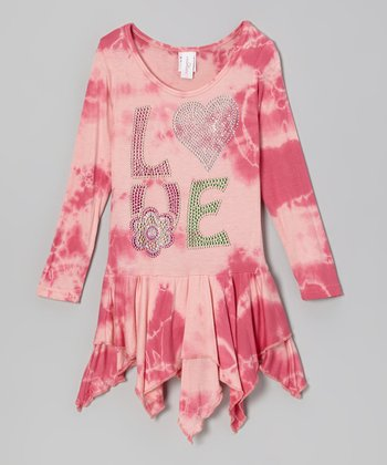 Pink Tie-Dye 'Love' Handkerchief Dress - Girls