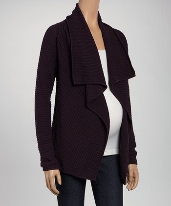 Purple Maternity Open Cardigan