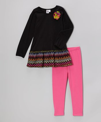 Black Zigzag Tunic & Pink Leggings - Girls