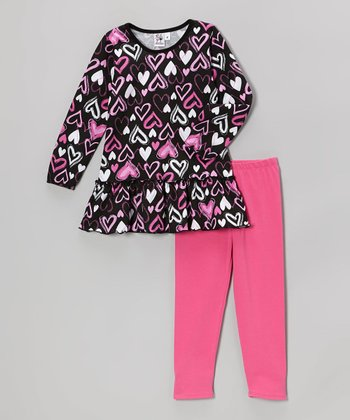Black Heart  Tunic & Pink Leggings - Toddler & Girls