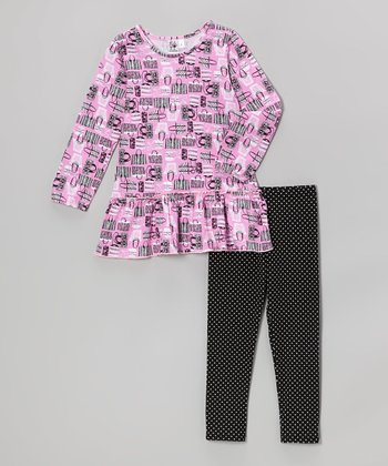 Pink Handbag Tunic & Black Polka Dot Leggings - Girls