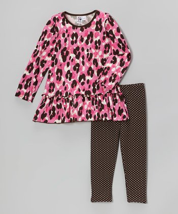 Pink Cheetah Tunic & Brown Dot Leggings - Infant & Toddler