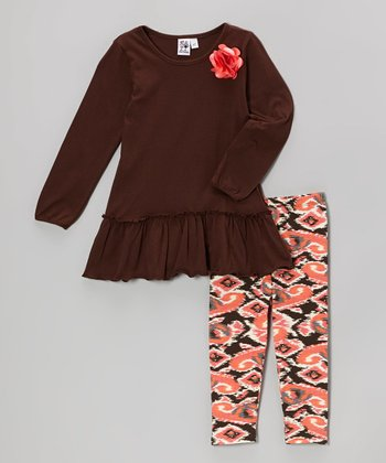 Brown Tunic & Ikat Leggings - Toddler & Girls
