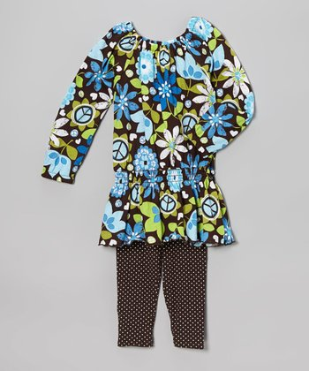 Brown Floral Tunic & Polka Dot Leggings - Toddler & Girls