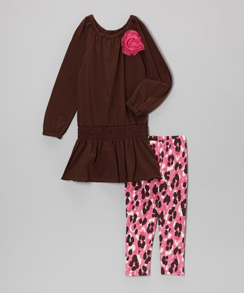 Brown Smocked Tunic & Pink Cheetah Leggings - Girls