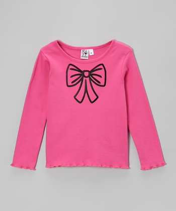 Pink Bow Lettuce-Edge Tee - Toddler & Girls