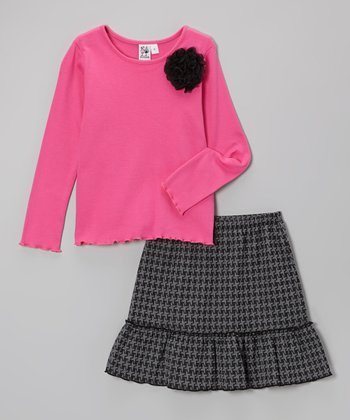 Pink Flower Tee & Black Houndstooth Skirt - Girls