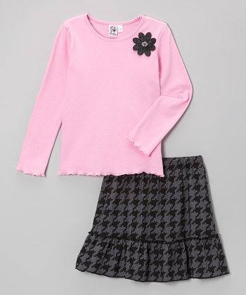 Light Pink Flower Tee & Black Houndstooth Skirt - Girls