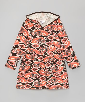 Orange Ikat Hooded Dress - Toddler & Girls